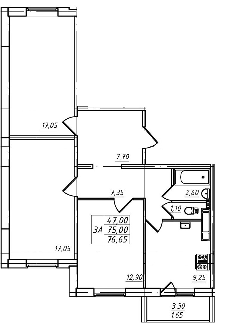 Планировка Трёхкомнатная квартира площадью 76.65 кв.м в ЖК «Радужный»