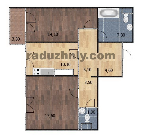 Планировка Двухкомнатная квартира площадью 65.85 кв.м в ЖК «Радужный»