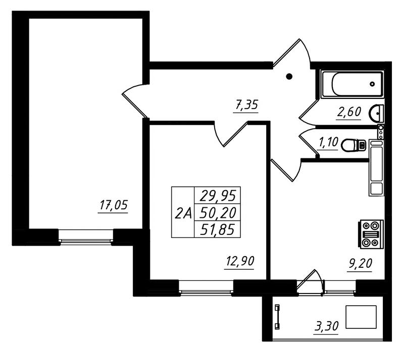 Планировка Двухкомнатная квартира площадью 51.85 кв.м в ЖК «Радужный»