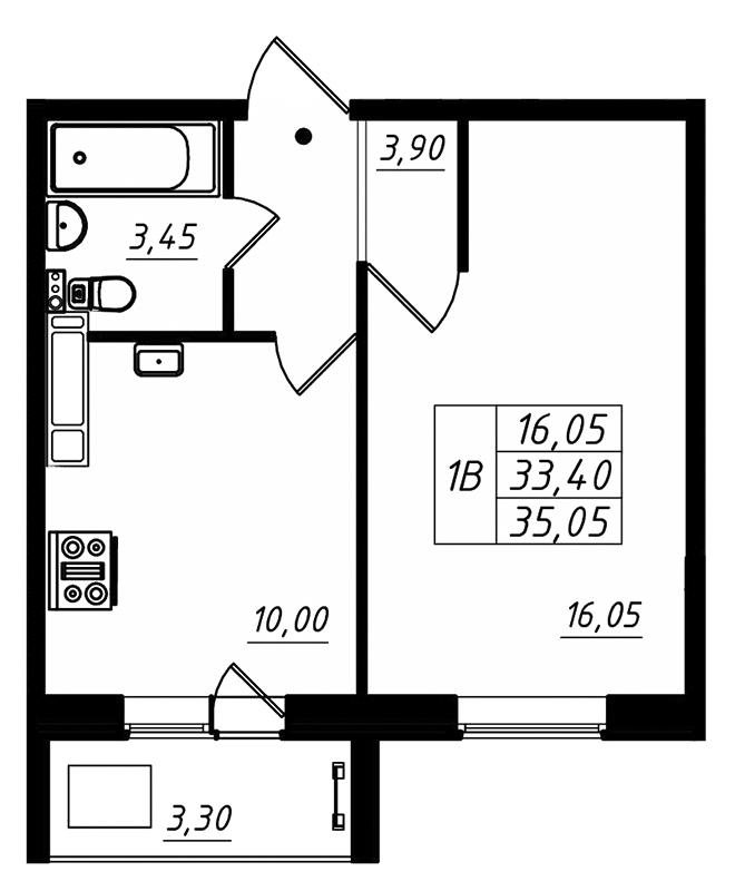 Планировка Однокомнатная квартира площадью 35.05 кв.м в ЖК «Радужный»